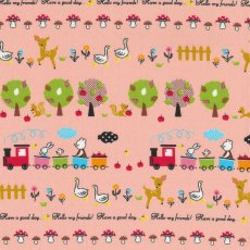 Happy Bear Village Pink Adorable japanese fabric  with sweet illustration of bears on bicycles and trains and delivering the post with mushrooms reindeer mice geese and squirrels Cur. Please Click the image for more information.