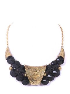 10660 PRESSED METAL CHOKER WITH BLACK BEADS ALSO AVAILABLE IN GREEN WHITE OR RED Please Click the image for more information.