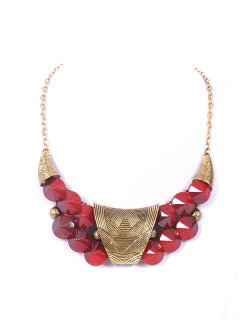 10660C PRESSED METAL CHOKER WITH RED BLACK GREEN OR WHITE BEADS Please Click the image for more information.