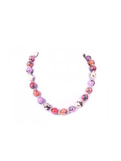 10674A NECKLACE AND EARRING BEADED SET  AVAILABLE IN PINK GUNMETAL RED OR BEIGE Please Click the image for more information.