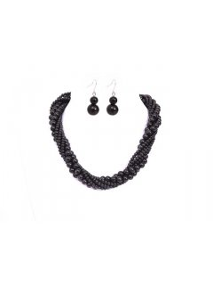 10652 TWISTED PEARL NECKLACE AND EARRING SET  AVAILABLE IN BLACK BW CHAMPAGNEBLACK GREYBLACK OR BLACKBLUE Please Click the image for more information.
