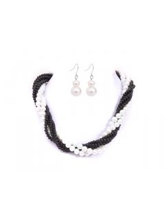 10652A TWISTED PEARL NECKLACE AND EARRING SET  AVAILABLE IN BLACK  WHITE BLACKCHAMPAGNE BLACKGREY BLACKBLUE OR BLACK Please Click the image for more information.