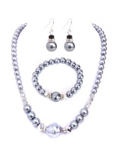 10651 PEARL NECKLACE EARRING AND BRACELET SET  CREAM BLACK CHAMPAGNE OR GREY Please Click the image for more information.
