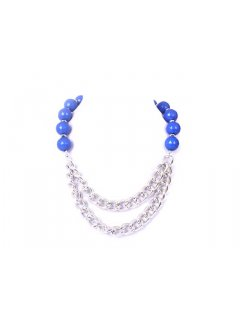 10701C SUMMER CHAIN LINK  BEAD NECKLACE  AVAILABLE IN BLUE BLACK RED OR GREEN Please Click the image for more information.