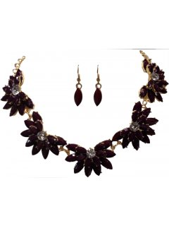 10667B NECKLACE  EARRING SET  GLASS FLOWER DESIGNAVAILABLE IN AUBERGINE DARK BLUE BLACKGREY OR ORANGE Please Click the image for more information.