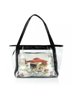 H0562 SUMMER BEACH BAG WITH PULL OUT SATCHELAVAILABLE IN BLACK BEIGE BLUE GREEN OR RED Please Click the image for more information.