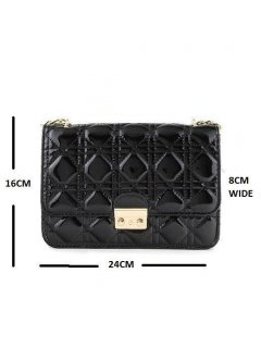 H0559 CHANEL LOOK PATENT BAGAVAILABLE IN BLACK RED BLUE OR FUSCIA Please Click the image for more information.