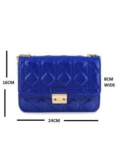 H0559B CHANEL LOOK PATENT BAGAVAILABLE IN BLUE FUSCIA BLACK OR RED Please Click the image for more information.