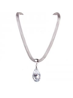 10690 SILVER NECKLACE WITH GLASS PEAR DROP Please Click the image for more information.