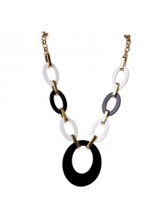 106966 FASHION NECKLACE IN VARIOUS COLOURS   BLACK  WHITE CIRCLE LINK  Please Click the image for more information.