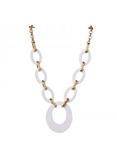 106966B FASHION CIRCLE LINK NECKLACE  WHITE  Please Click the image for more information.