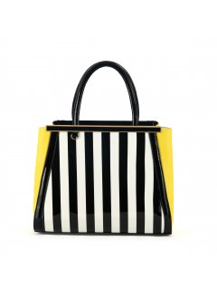 H0556 SUMMER HANDBAGS  YELLOW WITH BLACK  WHITE STRIPE PANELS Please Click the image for more information.