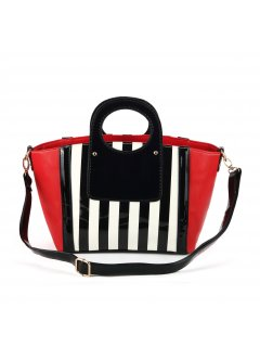 H0557A SUMMER HANDBAG BLUE WITH BLACK  WHITE STRIPED PANELSALSO AVAILABLE IN WHITE OR RED Please Click the image for more information.