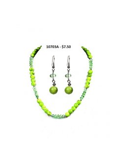10703A SUMMER NECKLACE  EARRING SETS  LIME Please Click the image for more information.