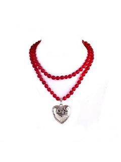 10705 LONG RED BEADS WITH HEART DROPALSO AVAILABLE IN ORANGE BLUE WHITE  BLACK Please Click the image for more information.