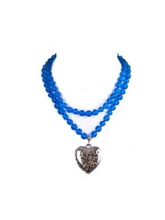 10705B BLUE BEAD NECKLACE WITH HEART DROPALSO AVAILABLE IN WHITE BLACK RED ORANGE  Please Click the image for more information.