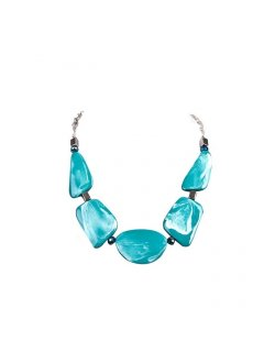 10706D TURQUOISE WOODEN CHOKERALSO AVAILABLE IN PINK GOLD BLACK OR BLUE Please Click the image for more information.