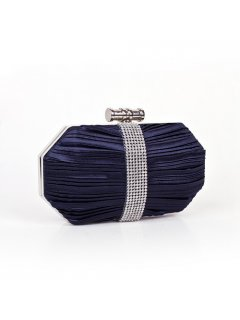 H0635D DARK BLUE OYSTER CLUTCH WITH DIAMONTE TRIM Please Click the image for more information.