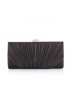 H0608 BLACK PLEATED SATIN EVENING BAG Please Click the image for more information.