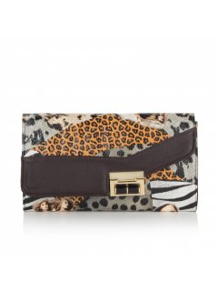 H0604A BROWN ANIMAL PRINT OVERSIZED CLUTCH Please Click the image for more information.