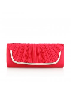 H0600C RED ROUCHED SATIN EVENING BAG Please Click the image for more information.