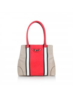 H0597B TAUPE BAG WITH RED  WHITE STRIPE Please Click the image for more information.
