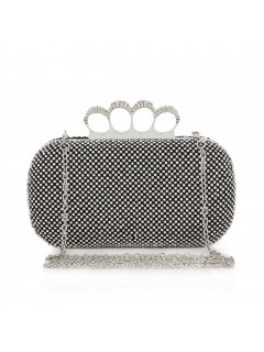 H0588A BLACK DIAMONTE CLUTCH WITH KNUCKLE CLASP Please Click the image for more information.