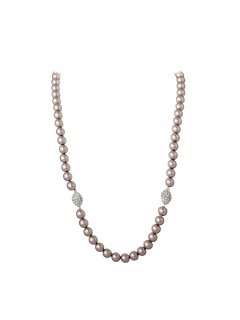 10716B MOCHA PEARL NECKLACE  BRACELET SETMAGNETIC DIAMONTE CLASP Please Click the image for more information.