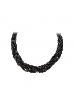 10713A BLACK TWISTED PEARL CHOKER WITH MAGNETIC DIAMONTE CLASP  22 Please Click the image for more information.