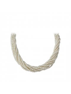 10712 CREAM TWISTED PEARL CHOKER  18  MAGNETIC DIAMONTE CLASP Please Click the image for more information.