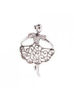 BR0135A SILVER FILIGREE  DIAMONTE GIRL BROOCH Please Click the image for more information.