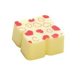 PURE WHITE LOVE&#8482 White chocolate with red hearts Solid white chocolate with edible colour printOrder by the piece pick up only  Otherwise go to Pack Your Own Box. Please Click the image for more information.