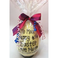 Personalised hollow white chocolate egg 215mm high $45.00 Please note Last orders for personalised eggs needs to be received 8days before the public holiday on Good Friday . Please Click the image for more information.