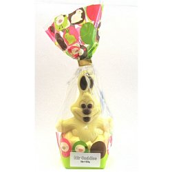 """Mr. Cuddles"" Easter egg rabbit - white 120mm $12.50 Hollow white chocolate bunny decorated with milk or dark chocolate Please Click the image for more information."