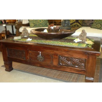 PU 5726 Balinese Carved Teak Coffee Table Coffee And Side Tables